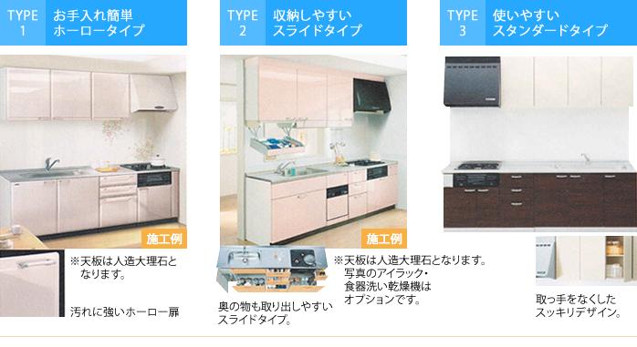 システムキッチン(I型255cm)|Type1~3